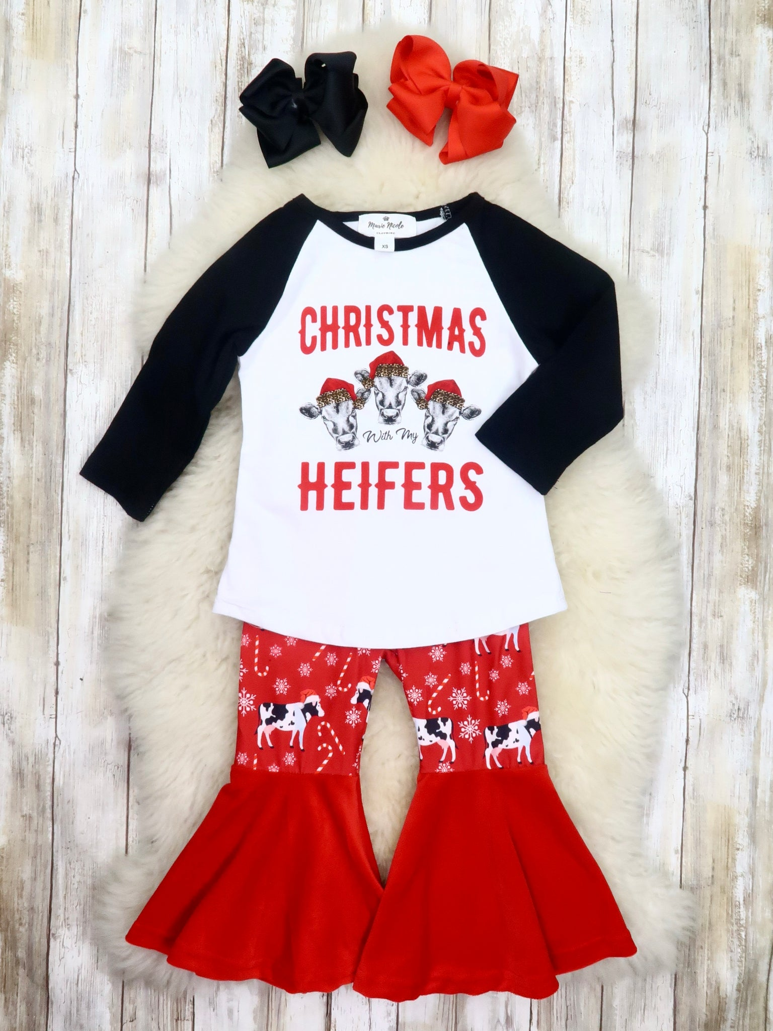 """Christmas With My Heifers"" Top & Cow Bell Bottoms Outfit"