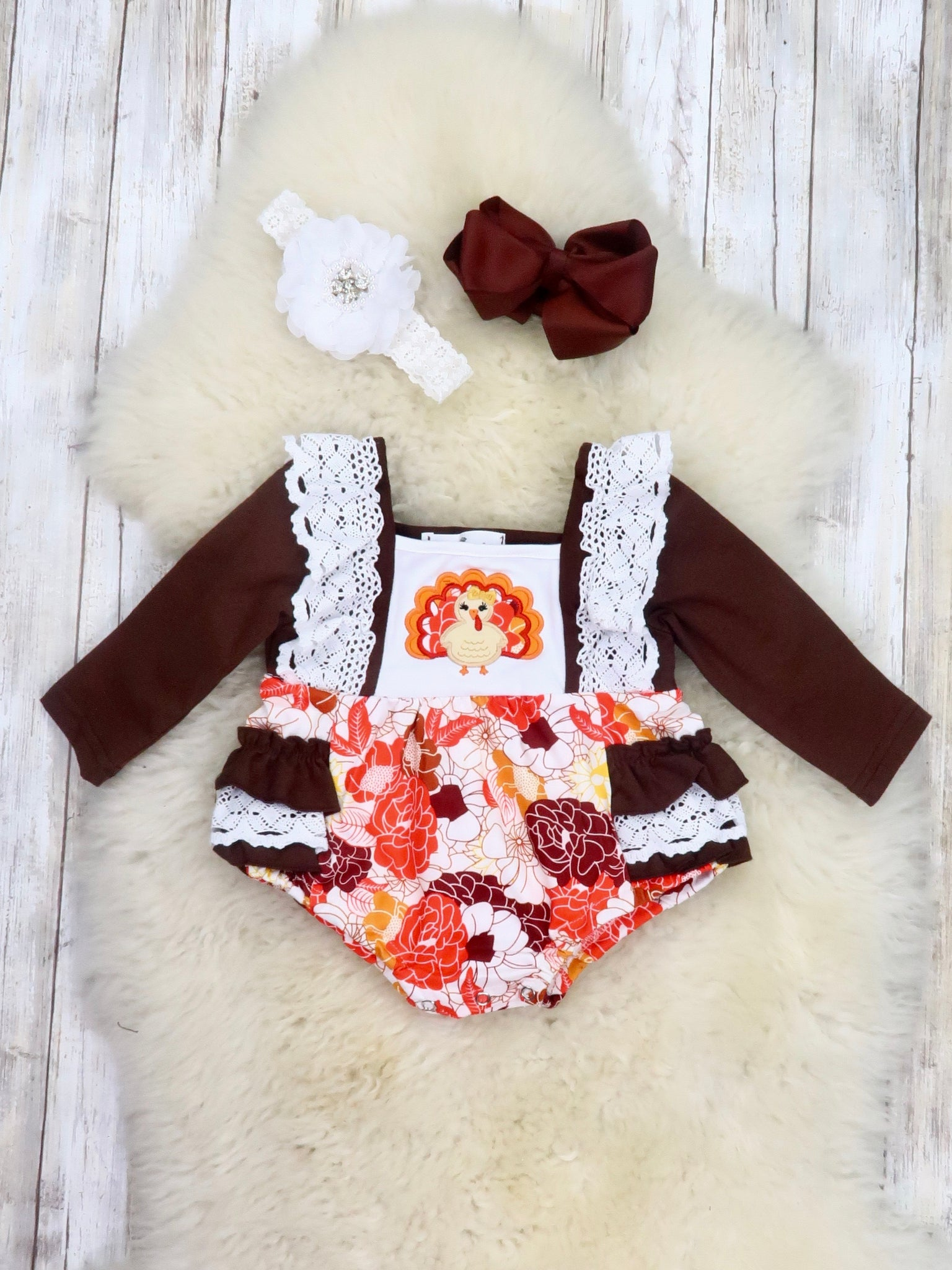 Brown Fall Floral Turkey Ruffle Bubble Romper