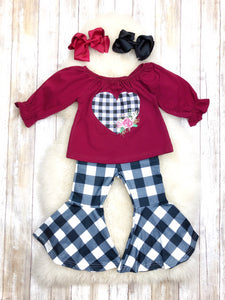 Burgundy & Plaid Heart Bell Bottom Outfit