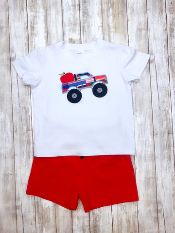 Apple Monster Truck Shirt & Shorts Outfit