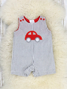 Pinstriped Red Car Overall Romper