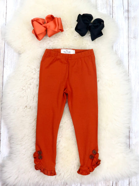 Cotton Small Ruffle Button Leggings - Pumpkin