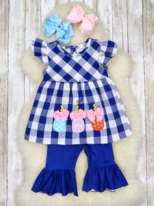 Navy Picnic Plaid Easter Egg Outfit