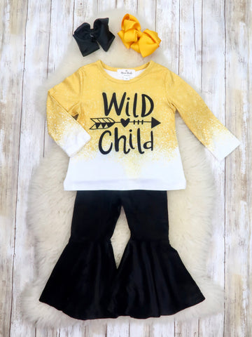 """Wild Child"" Mustard Top & Black Velvet Bell Bottoms Outfit"