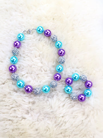 Blue / Purple Bubblegum Pearl Necklace & Bracelet Set
