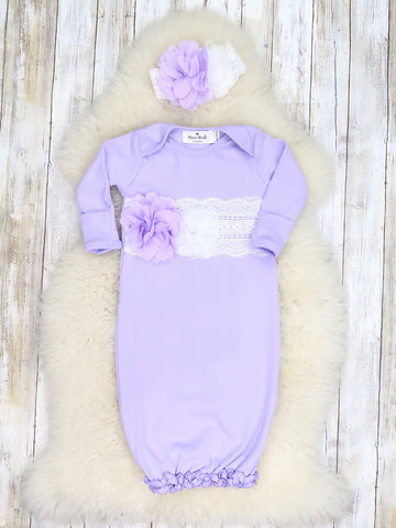 Cotton Lace Baby Gown With Headband - Lavender