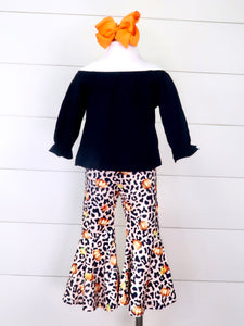 Black Ruffle Top & Leopard Pumpkin Bell Bottoms Outfit