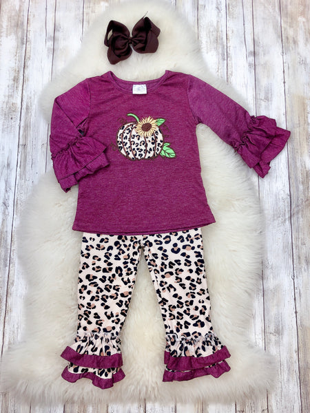 Plum & Cheetah Pumpkin Outfit