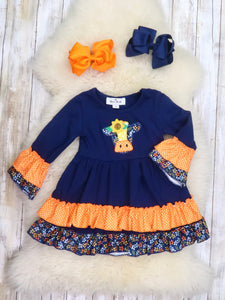 Navy / Orange Cow Ruffle Dress
