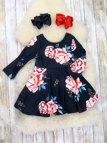 Black Rose Ruffle Dress