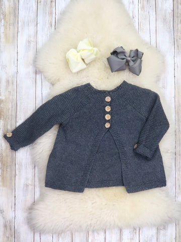 Gray Long Sleeve Knit Cardigan