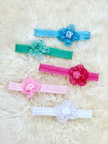 Lace Flower Headband- 5 Colors