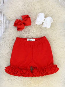 Cotton Ruffle Shorts - Ruby Red