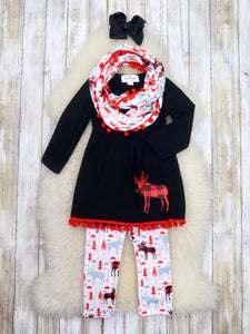 Black / Red Moose Tunic, Pants, & Scarf Outfit