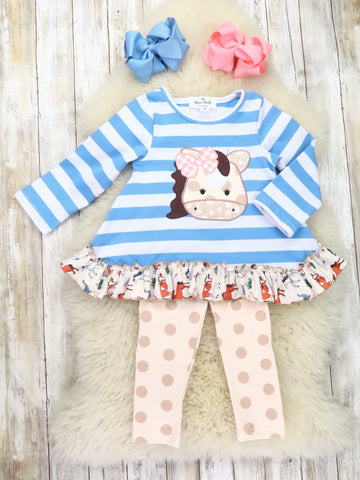 Blue Striped Horse Ruffle Top & Beige Pants Outfit
