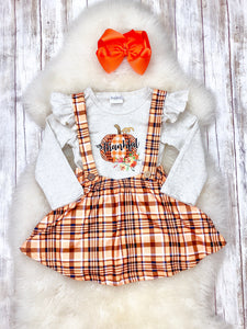 """Thankful"" Pumpkin Suspender Skirt Outfit"