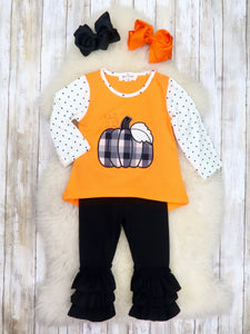 Orange / White Polka Dot Pumpkin Top & Ruffle Pants Outfit