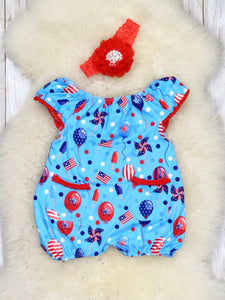 Patriotic Balloon Pocket Romper