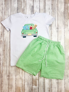 School Monster Truck Shirt & Shorts Outfit