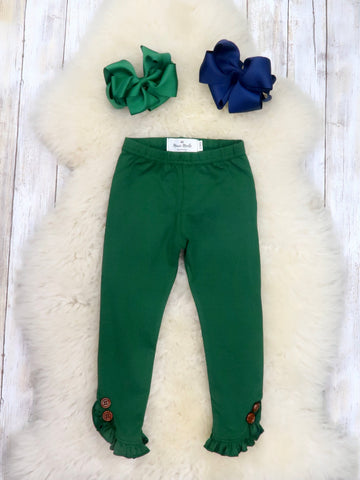 Cotton Small Ruffle Button Leggings - Dark Green