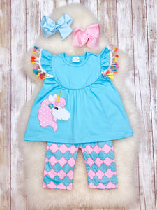 Blue Ruffle Pearl Unicorn Top with Shorts Outfit