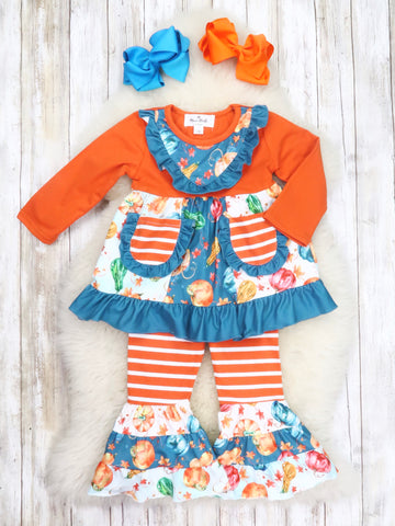 Pumpkin Spice Fall Harvest Ruffle Top & Bell Bottoms Outfit