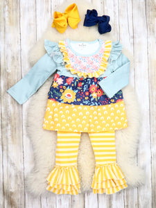 Mustard / Gray Floral Ruffle Top & Striped Pants Outfit