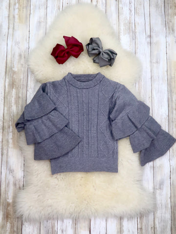 Gray Knit Bell Sleeve Top