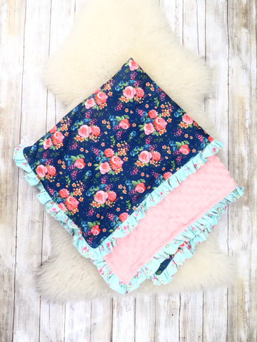 Navy / Mint Rose Minky Blanket