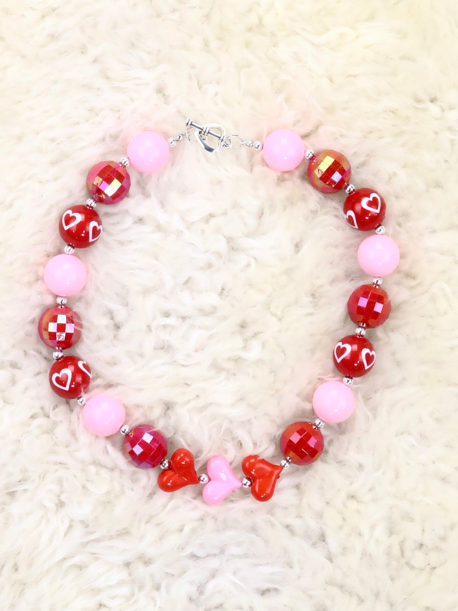 Pink / Red Hearts Bubblegum Pearl Necklace
