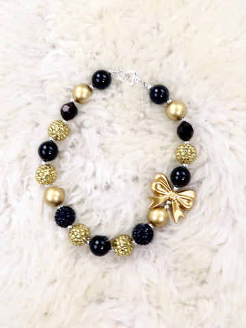 Black / Gold Ribbon Pearl Bubblegum Necklace