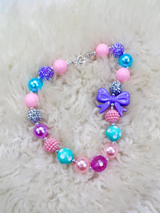Lavender Pink Bow Bubblegum Necklace