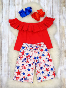 Red Off The Shoulder Top & Patriotic Gauchos Outfit