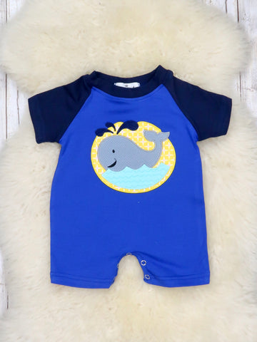 Blue Whale Shorts Romper