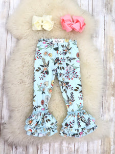 Tulip Ruffle Leggings - Fall Baby BLUE Floral