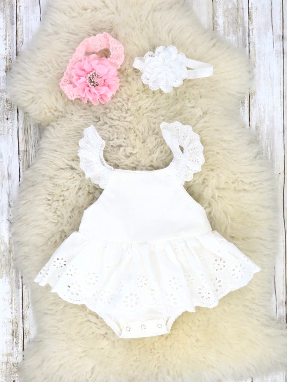 White Cotton Eyelet Lace Ruffle Romper