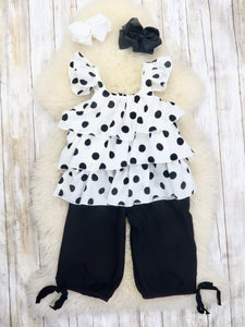 White Polka Dot Ruffle Top & Black Pants Outfit