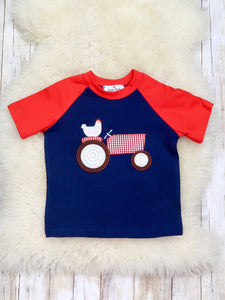 Chicken On A Tractor Red/Navy Short Sleeve Shirt