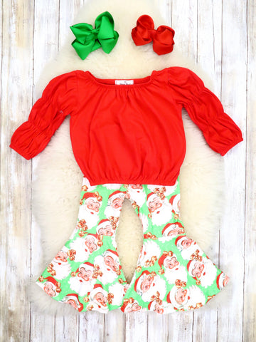 Red Ruffle Top & Green Santa Bell Bottoms Outfit