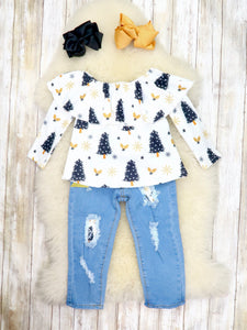 Black / Gold Christmas Tree Ruffle Top & Distressed Denim Outfit