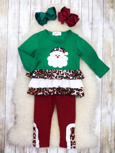 Green Leopard Santa Ruffle Top & Burgundy Pants Outfit
