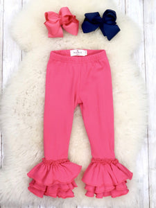 Cotton Tulip Ruffle Leggings - Hot Pink