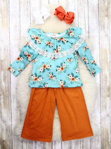 Teal Floral Ruffle Top & Burnt Orange Paper Bag Pants Outfit
