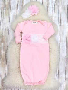 Cotton lace Baby Gown With Headband - Pink - Restocked.