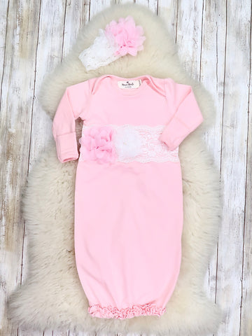 Cotton lace Baby Gown With Headband - Pink