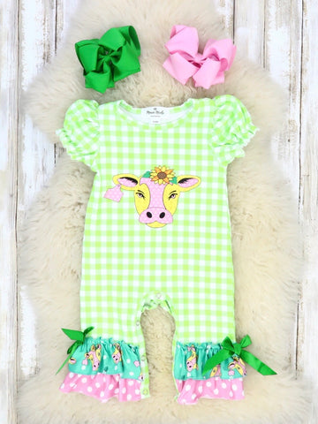Lime Green Checked Cow Ruffle Romper