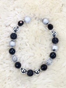 Black / Silver Bubblegum Pearl Necklace
