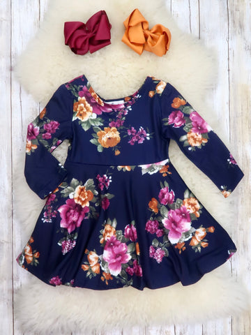 Purple / Gold Floral Ruffle Dress