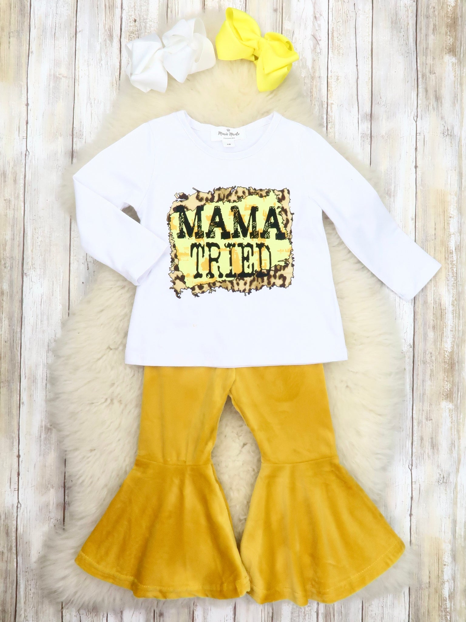 """Mama Tried"" Top & Mustard Velvet Bell Bottoms Outfit"