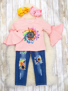 Pink Tie-Dye Sunflower Top & Distressed Denim Pants Outfit